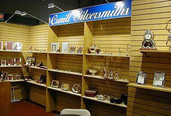 Cunill Silversmith Gift Fair booth designed by Manny Stone Decorators