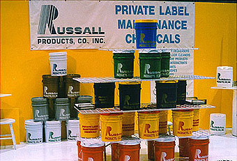 Russal Industrial Products booth with hardwall by Manny Stone Decorators