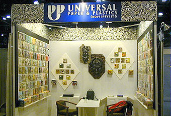 Universal Paper and Plastics display booth built by Manny Stone Decorators